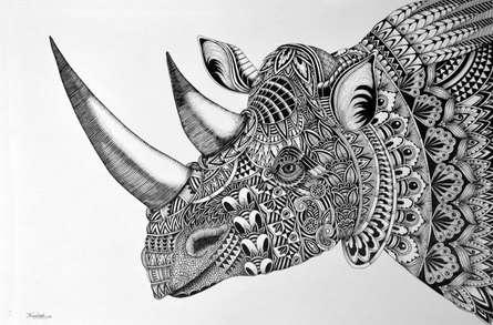 Pen Paintings | Drawing title Rhinoceros on Paper | Artist Kushal Kumar