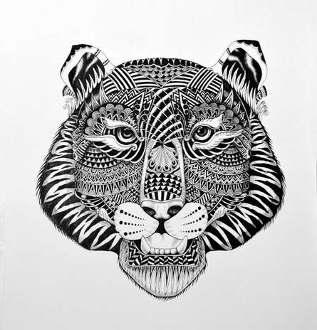 Pen Paintings | Drawing title Tiger on Paper | Artist Kushal Kumar