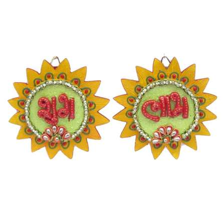 Ecraft India | Shubh Labh Wall Hanging Craft Craft by artist Ecraft India | Indian Handicraft | ArtZolo.com