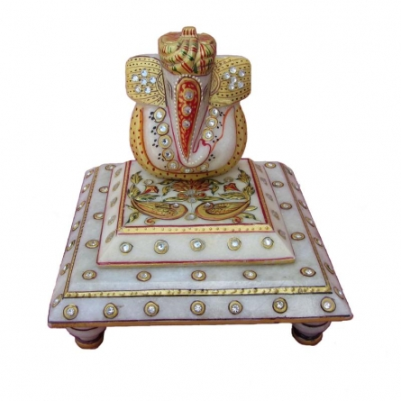 Lord Ganesha Marble Statue-On Cho | Craft by artist Ecraft India | Marble