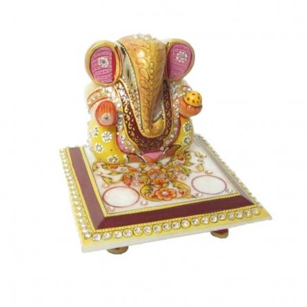 Ganesha On Chowki 1 | Craft by artist Ecraft India | Marble