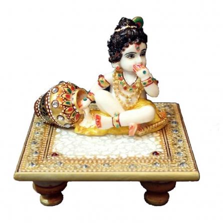 Ecraft India | Laddu Gopal On Golden Marble Chowki Craft Craft by artist Ecraft India | Indian Handicraft | ArtZolo.com