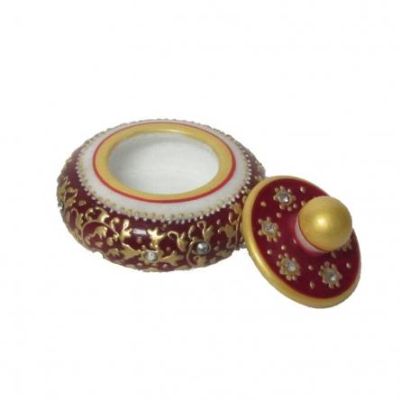Red Round Sindoor Holder | Craft by artist Ecraft India | Marble