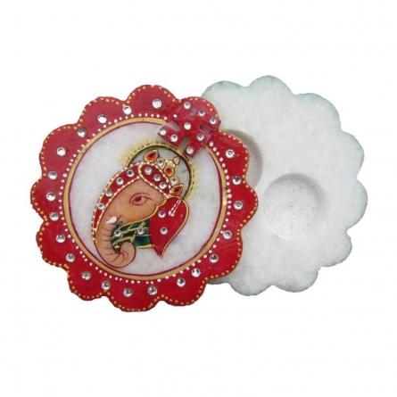 Round Ganesha Chopra | Craft by artist Ecraft India | Marble