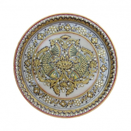 Fish Printed Plate | Craft by artist Ecraft India | Marble