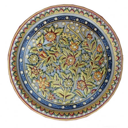 Plate With Flowers | Craft by artist Ecraft India | Marble