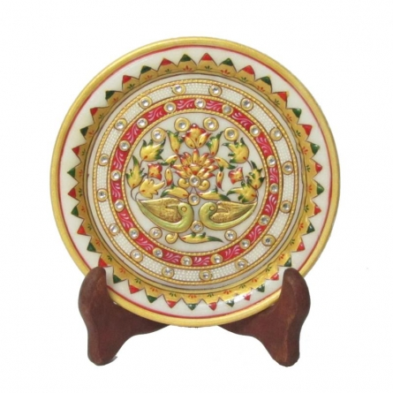 Floral Marble Plate | Craft by artist Ecraft India | Marble