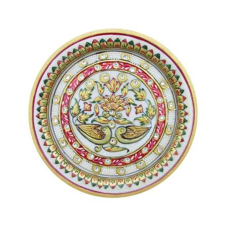 Floral Decorative Plate   Craft by artist Ecraft India   Marble