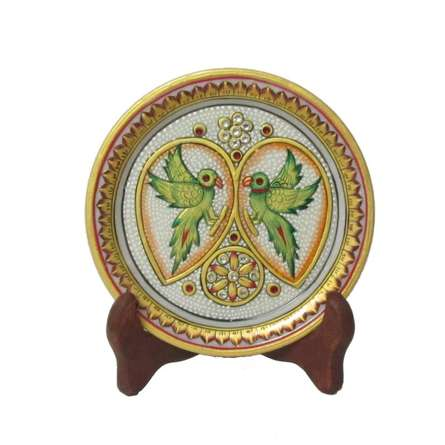 Parrot Marble Plate | Craft by artist Ecraft India | Marble