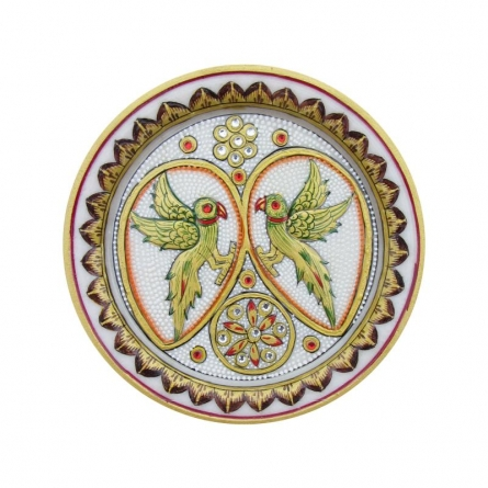 Parrots Decorative Plate | Craft by artist Ecraft India | Marble