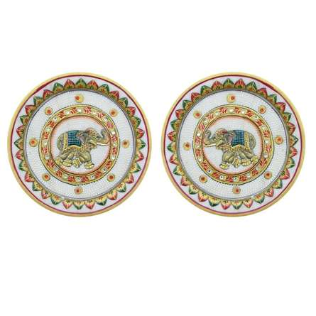 Elephant Pair Plates | Craft by artist Ecraft India | Marble