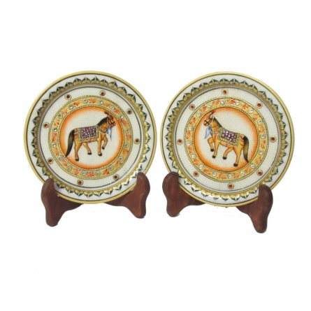 Ecraft India | Horse Etched Plates Craft Craft by artist Ecraft India | Indian Handicraft | ArtZolo.com