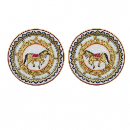 Horse Pair Plates | Craft by artist Ecraft India | Marble
