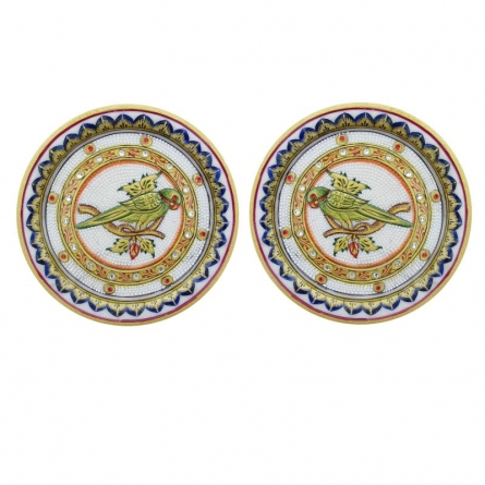 Parrot Pair Plates | Craft by artist Ecraft India | Marble