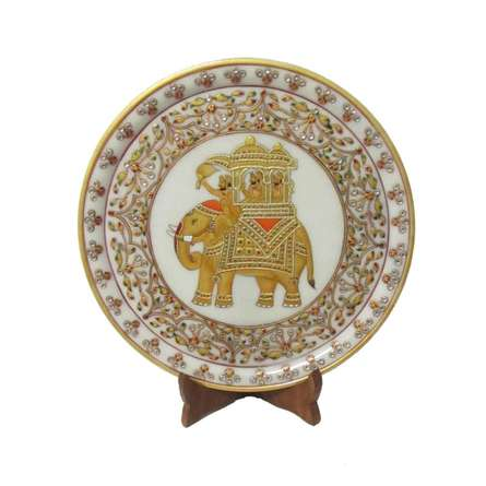 Elephant Marble Plate | Craft by artist Ecraft India | Marble