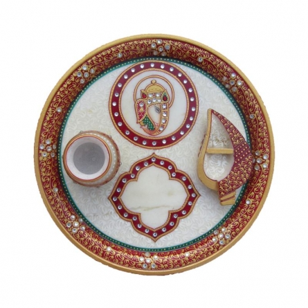 Pooja Thali With Ganesha | Craft by artist Ecraft India | Marble