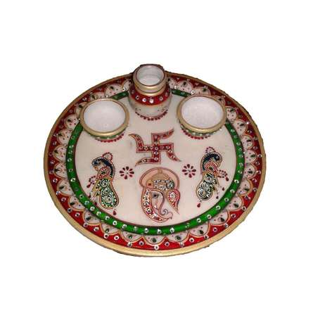 Lord Ganesha Pooja Thali With P | Craft by artist Ecraft India | Marble