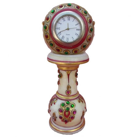 Gold Painted Marble Pillar Watch | Craft by artist Ecraft India | Marble