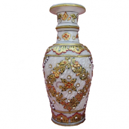 Gold Painted Marble Vase | Craft by artist Ecraft India | Marble