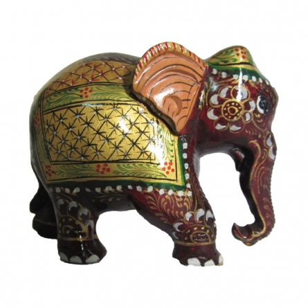 Painted Elephant Statue | Craft by artist Ecraft India | wood