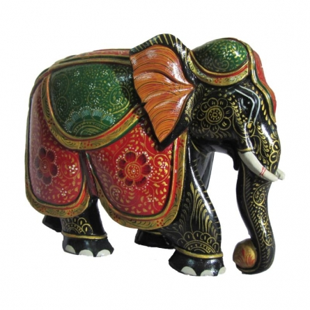 Wooden Painted Elephant Statue | Craft by artist Ecraft India | wood