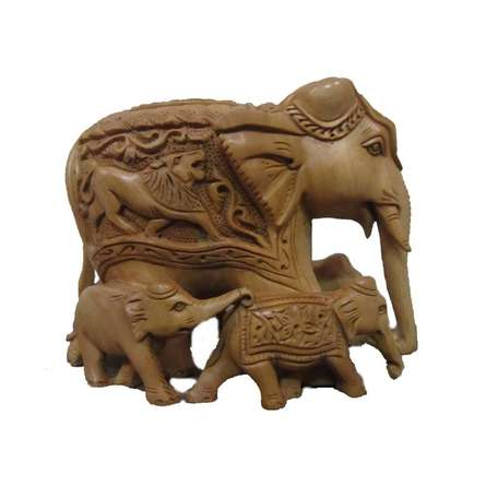 Wooden Carved Family Elephant (Five) | Craft by artist Ecraft India | wood