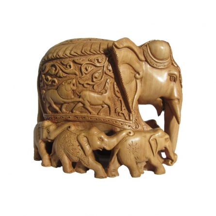 Wooden Carved Family Elephant (Seven) | Craft by artist Ecraft India | wood