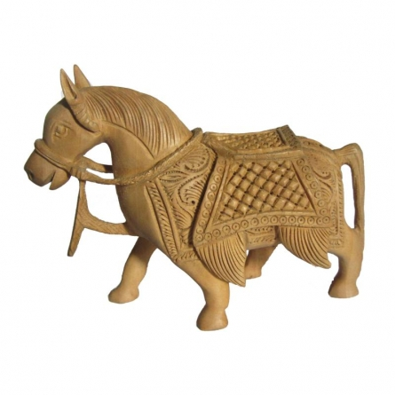 Hand Carved Horse | Craft by artist Ecraft India | wood