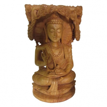 Lord Buddha Under Tree | Craft by artist Ecraft India | wood