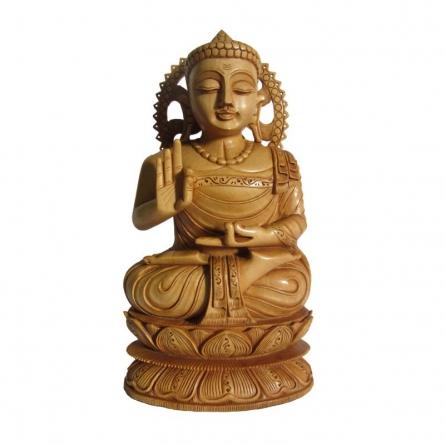 Lord Buddha Sitting Sculpture | Craft by artist Ecraft India | wood