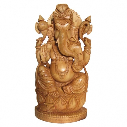 Lord Ganesha On Lotus | Craft by artist Ecraft India | wood