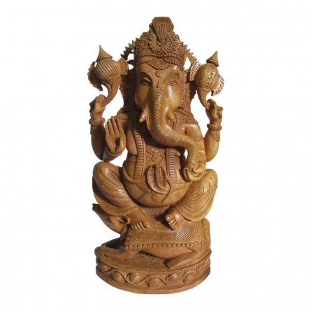 Lord Ganesha With Rat | Craft by artist Ecraft India | wood