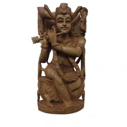 Lord Krishna Playing Flute Sitting   Craft by artist Ecraft India   wood