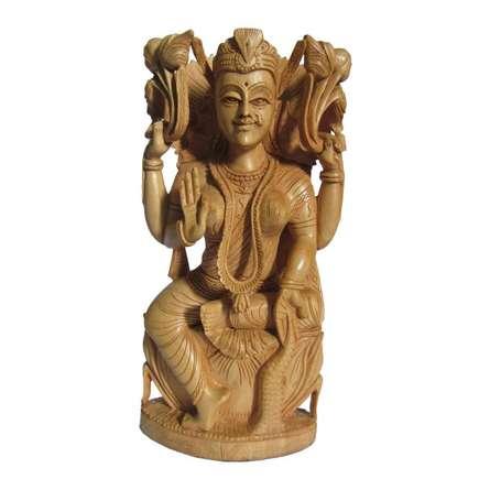 Goddess Lakshmi Sitting On Lotus | Craft by artist Ecraft India | wood