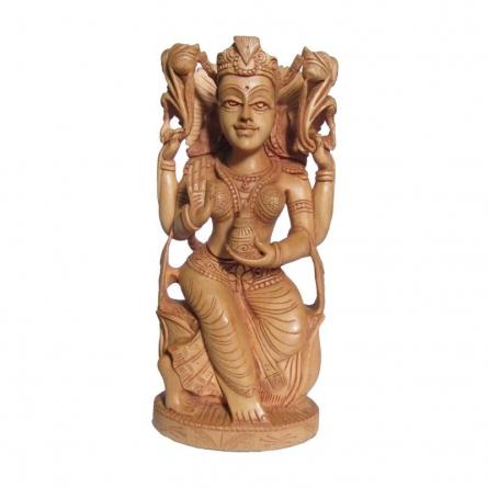 Goddess Lakshmi Sitting With Kala | Craft by artist Ecraft India | wood