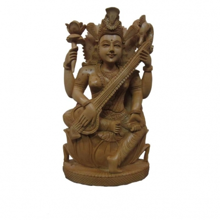 Goddess Saraswati Playing Sitar O | Craft by artist Ecraft India | wood