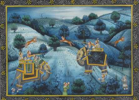 Unknown | Mughal Traditional art title Hunting Lions At Jungle on Silk | Artist Unknown Gallery | ArtZolo.com