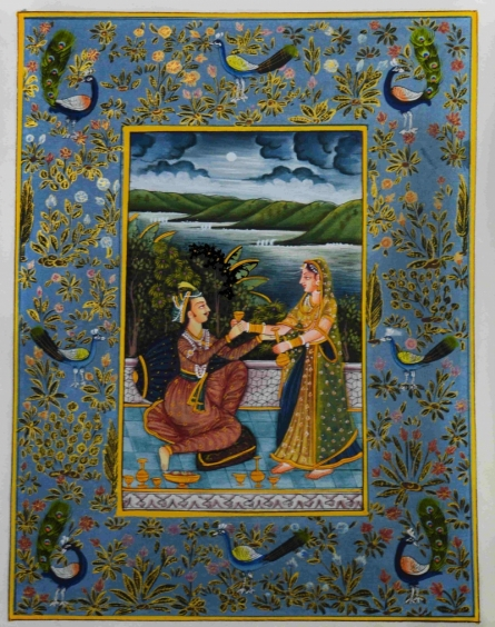 Traditional Indian art title Mughal King With Queen on Silk - Mughal Paintings