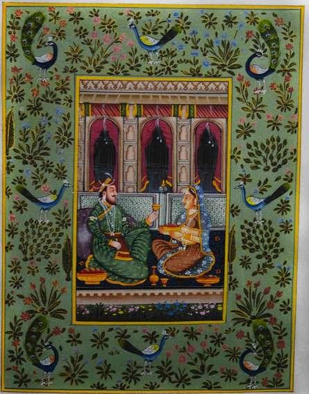 art, traditional, mughal, silk, figurative