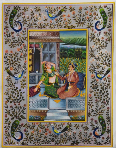 Traditional Indian art title Royal Couple Romancing on Silk - Mughal Paintings