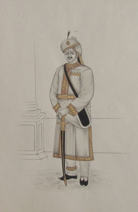 Traditional Indian art title A King Of Mughal Emperor on Paper - Mughal Paintings