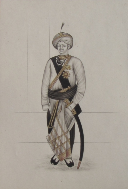 Traditional Indian art title A Rajput King With Sword on Paper - Mughal Paintings