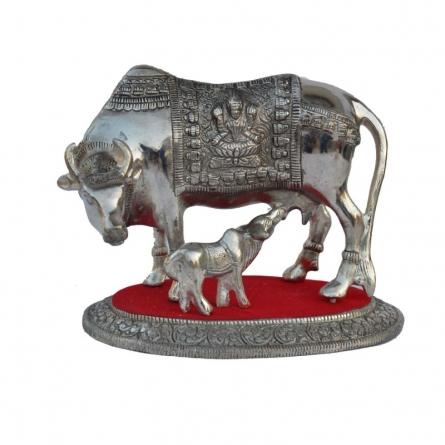 E Craft | White Metal Cow with Calf statue Craft Craft by artist E Craft | Indian Handicraft | ArtZolo.com