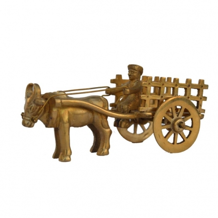 Metal Cow Cart | Craft by artist E Craft | Brass