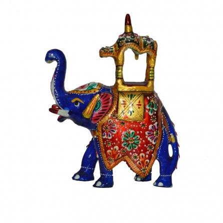 Meenakari Colorful Ambabari Elephant | Craft by artist E Craft | Metal