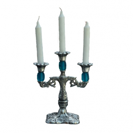 Decorative Sky Blue Candle stand | Craft by artist E Craft | Metal
