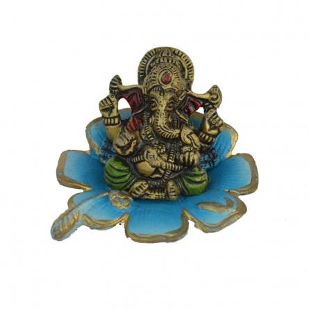 E Craft | Metal Ganesha Statue on Sky Blue Leaf Craft Craft by artist E Craft | Indian Handicraft | ArtZolo.com