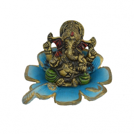 Metal Ganesha Statue on Sky Blue Leaf | Craft by artist E Craft | Metal