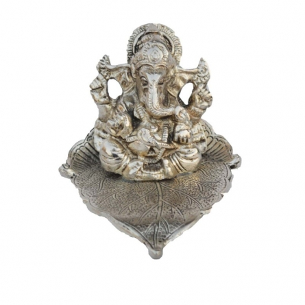 E Craft | Silver Lord Ganesha Statue on Leaf Craft Craft by artist E Craft | Indian Handicraft | ArtZolo.com