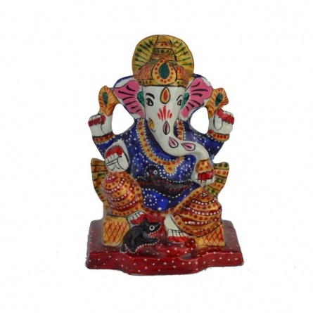 Meenakari Charurbhuj Lord Ganesha statue | Craft by artist E Craft | Metal